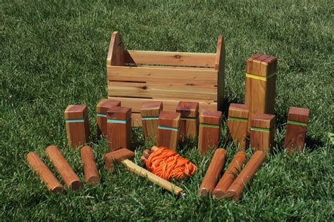 diy wooden games kubb set with carrying case and integrated mallet