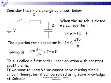 capacitor charge laplace transient responses laplace transforms