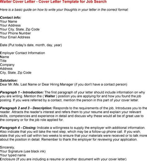 cover letter for waiter waitress cover letter exle icoverorguk
