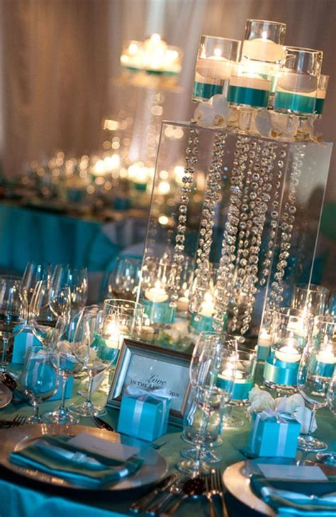 blue themed centerpieces tiffany blue and gold vintage wedding reception decor