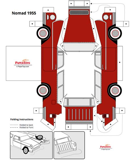 Papercraft Models Free - 1955 chevrolet nomad paper model free paper toys and