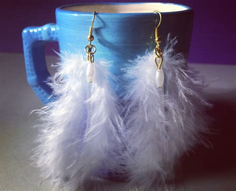 handmade feather earrings white feather earrings white