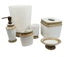 Gold Bathroom Accessories Sets 6 Gold Bath Accessories Set Toothbrush Holder Bathroom Soap Tray Dispenser Ebay