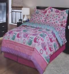 owl comforter set full polka dot owls pink full comforter sheets shams bedskirt