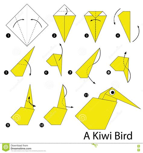 Steps To Make A Paper Bird - step by step how to make origami a kiwi bird