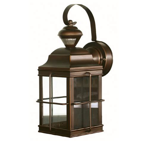 Outdoor Solar Carriage Lights Shop Secure Home New Carriage 14 75 In H Antique Bronze Motion Activated Outdoor Wall