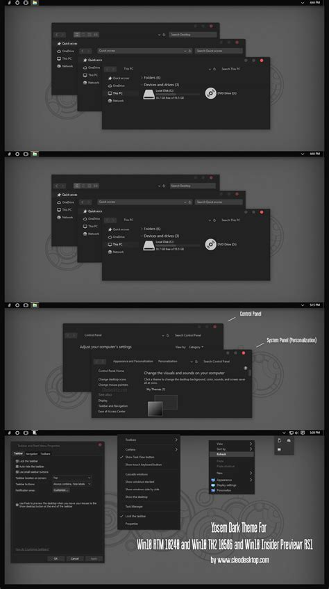 themes black windows 10 yosem dark theme for win10 th2 10586 and win10 insider