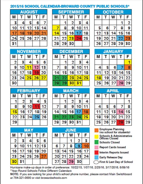 Broward County Schools Calendar 2015 16 2015 2016 School Calendar Broward County The