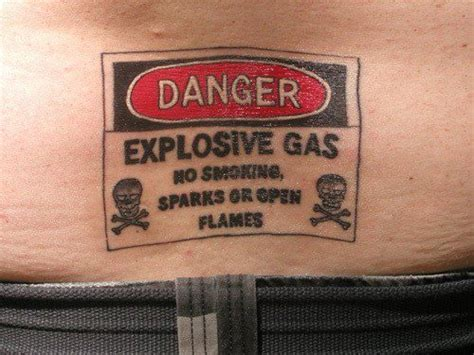 funny butt tattoos danger explosive gas