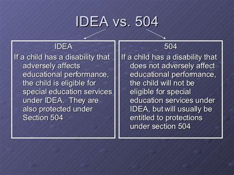 idea vs section 504 ed regs and chronic illness