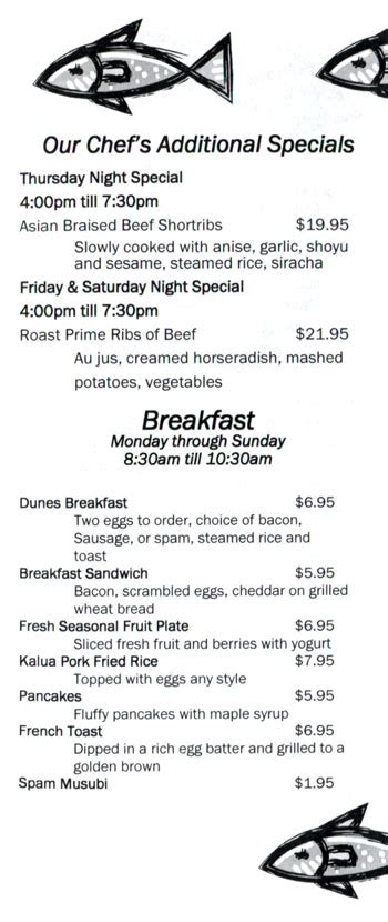 dune menu cafe o at dunes menu restaurant
