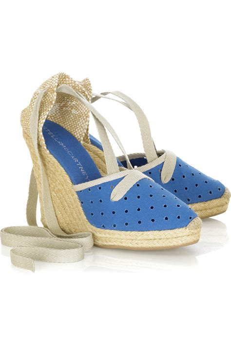 Stella Mccartney Sea Grass Wedges by Stella Mccartney Perforated Canvas Espadrille Wedges In