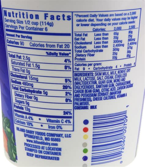 Non Cottage Cheese Nutrition Facts by Hiland Lowfat 2 Cottage Cheese Hy Vee Aisles