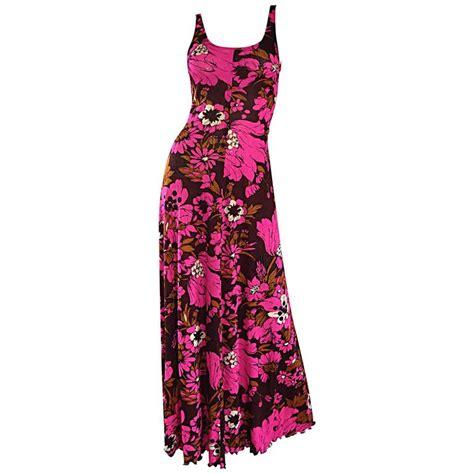 Sale Fashion Wanita Dress Maxi Michael 1970s michael dayan pink brown floral 70s vintage