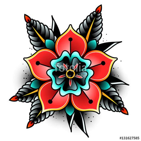 quot old tattoo flower quot stock image and royalty free