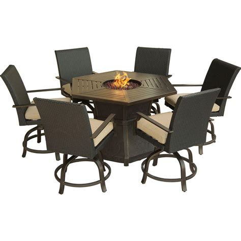 Hanover Aspen Creek 7 Piece Patio Fire Pit Dining Set with