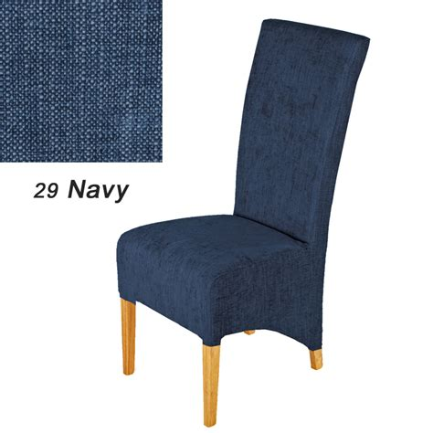 contemporary dining chair with solid oak legs navy blue