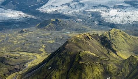 mountain ridges and streams in iceland photographed by