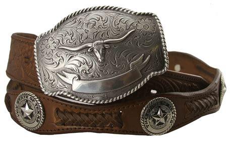 state of longhorn western embossed genuine leather