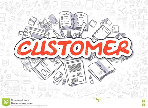 doodle graphic design services customer doodle text business concept stock