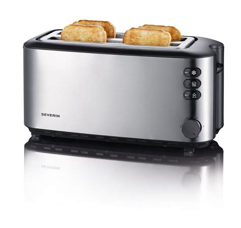 2 Slice Stainless Steel Toaster Severin Automatic Long Slot Toaster 4 Slice 1400w Brushed