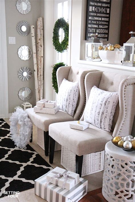 elegant foyer decor ideas elegant and neutral christmas foyer setting for four