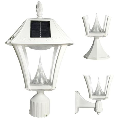 Gama Sonic Baytown Ii Outdoor White Resin Solar Post Wall White Solar Lights