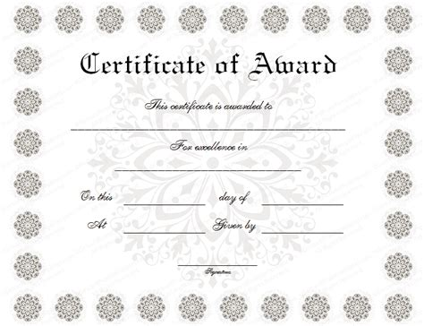 formal award certificate template formal award certificate templates blank certificates