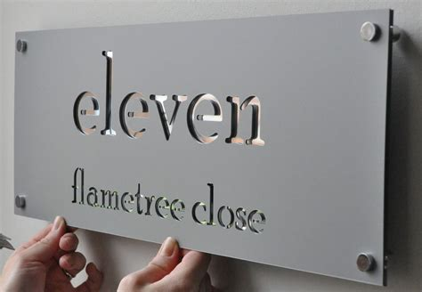 laser cut house numbers stainless steel on mirror backing