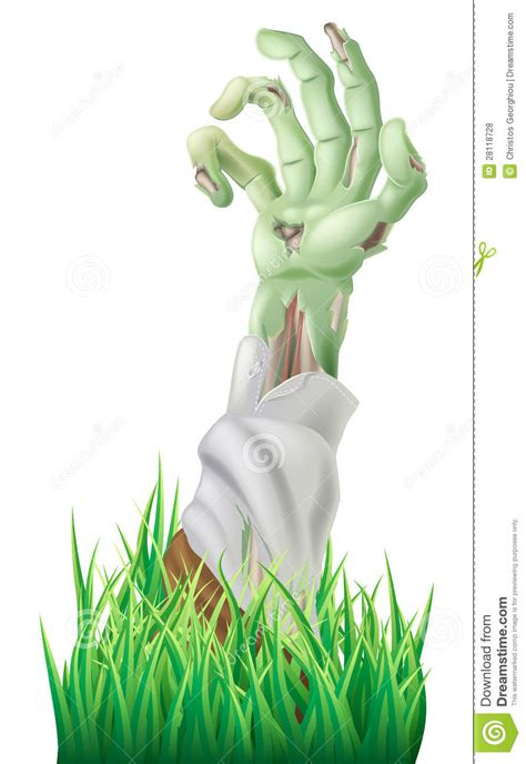 zombie arm stock vector image  evil grass background