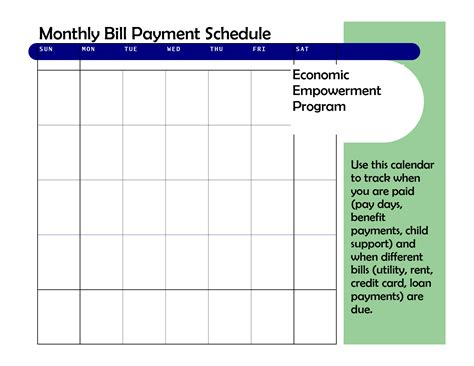 monthly based bill payment schedule template vatansun