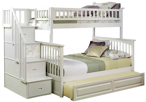 White Futon Bunk Bed Light Brown Wooden Bunk Bed Plus Trundle On The Bottom Combined With White Bedding Sheet Also