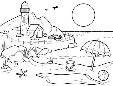 beach coloring pages beach scene coloring pages kids
