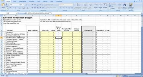 Home Construction Cost Spreadsheet by Renovation Construction Budget Spreadsheet Implementing