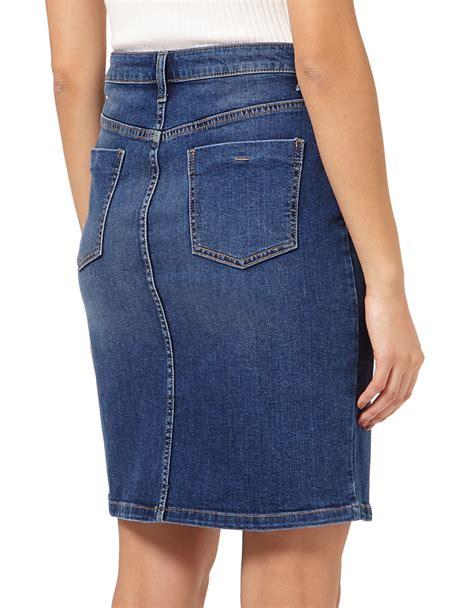 miss selfridge denim midi skirt in blue lyst