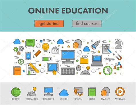 design online learning linear design concept web banner for e learning and online