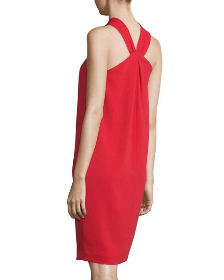 draped halter dress st john collection classic cady draped halter dress paprika