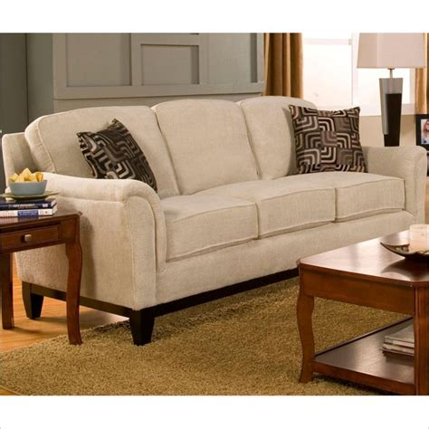 beige chenille sofa carver sofa with exposed wood base in beige chenille 502471