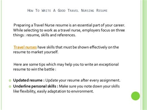 How To Write Nursing Resume by How To Write A Travel Nursing Resume
