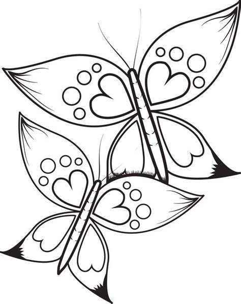 coloring pages of butterflies and hearts free printable butterflies with heart wings coloring page