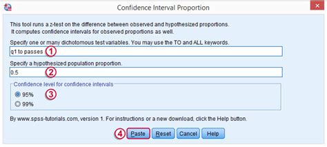 tutorial spss version 22 z test and confidence interval proportion tool