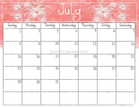 july calendar template printable july 2018 calendar template pdf with