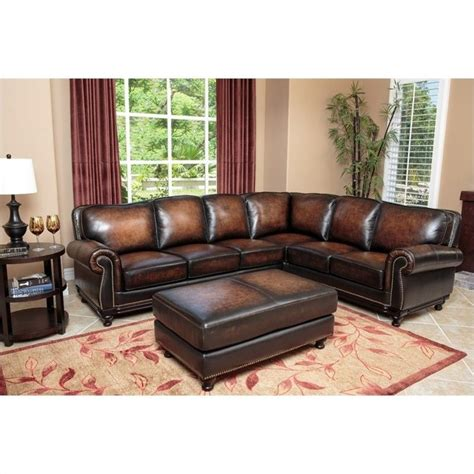 brown leather sectional with ottoman abbyson living nizza woodtrim leather sofa set brown