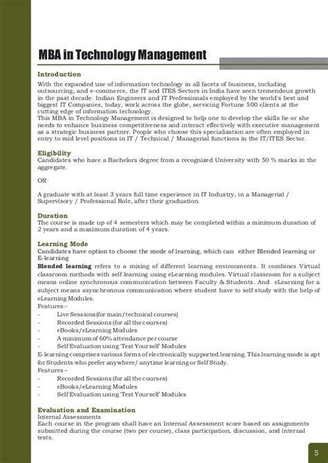 Mba Technology Management Scope India by Mba In Technology Management From Largest