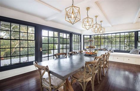 eclectic dining room with window seat hardwood floors two tone dining room ideas pictures designing idea