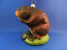 animal tree ornaments beaver glass ornament blown tree farm animal
