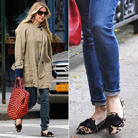 celebrity women wearing loafers sienna miller wearing leopard loafers pictures