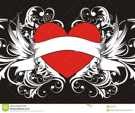 goth heart background stock vector image of winged