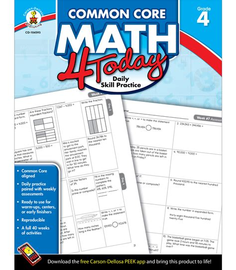 common math workbook grade 4 choice daily math practice grade 4 common math 4 today workbook grade 4 by carson