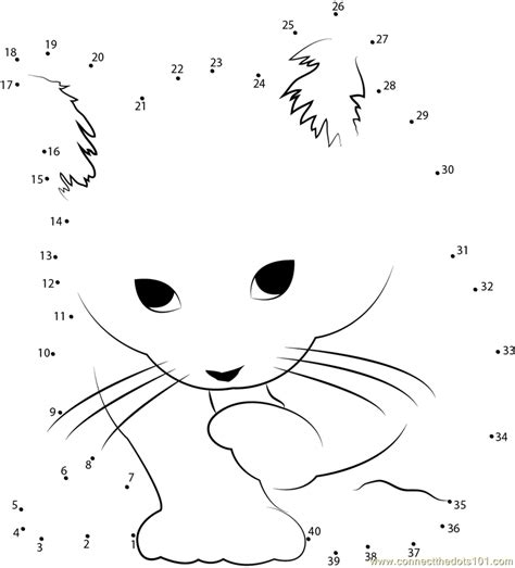 printable dot to dot cat small cat dot to dot printable worksheet connect the dots